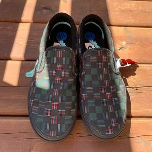 NWT Vans Plaid Checkerboard Slip-On in Green